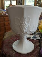 """Milk Glass Bowl Candy Dish Vintage White Pedestal Footed 6.5"""" tall 5.5"""" d Grapes"""