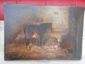 SUPER  ANTIQUE OIL PAINTING OF HORSE DOGS AND CATS IN STABLE ON CANVAS