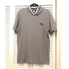 Quicksilver Striped Hoided Tee W/ Pocket Sz L