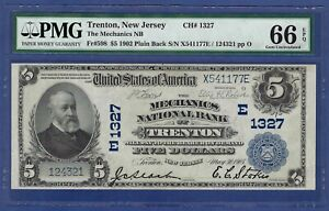 NJ 1902 $5  ♚♚TRENTON, NEW JERSEY♚♚ PMG GEM UNC 66 EPQ   BEST KNOWN!!!
