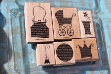 Stampin Up! OH MY WORD 2005 Baby Buggy Purse Ornament Set of 6