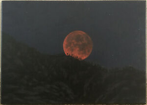 EARLY CALIFORNIA LANDSCAPE NOCTURNE WESTERN MOUNTAIN DESERT MOON ECLIPSE CANVAS