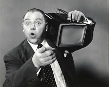 Philippe Halsman Man with Early Portable TV 8x10 Stamped B&W Photograph