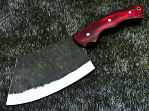 Elegant Custom hand Forged Railroad Spike Carbon Steel Blade Chopper Knife 9376