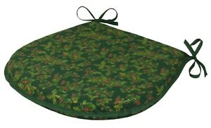 Christmas Holly Green D-Shaped Garden/Patio/Kitchen/Dining seat pads *3 Sizes*
