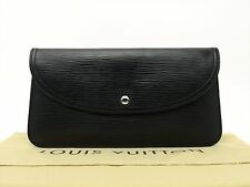 Louis Vuitton Authentic Epi Leather Black Pochette De Voyage POUCH Clutch Bag LV