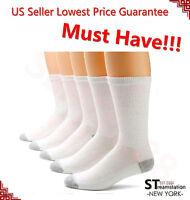 3-12 Pairs CREW Mens Solid Sports Socks Cotton 9-11 10-13 White Gray Black USA