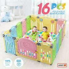 ABST 16 Panel Kids Baby Playpen Interactive Baby Room Foldable Safety Gates Bear