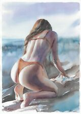 original drawing A3 303SA art by samovar female nude watercolor Signed 2020