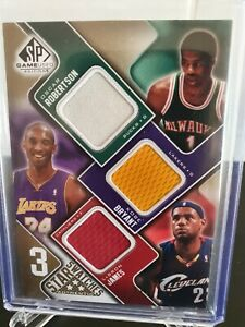 2009-10 SP Game Used KOBE BRYANT LeBRON JAMES ROBERTSON Jersey Patch /125 GOLD!