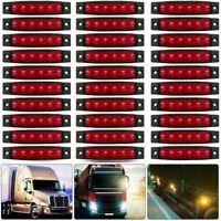 30pcs 12V 6 LED Side Marker Indicators Lights for Truck Trailer Bus Red Lamp UK