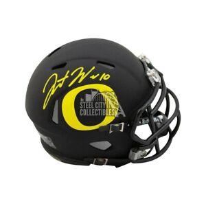 Justin Herbert Autographed Oregon Ducks Speed Mini Football Helmet - BAS COA