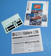 AMT 1968 Camaro Z28 Decals, Instructions and Mini-Box 1/25 Scale