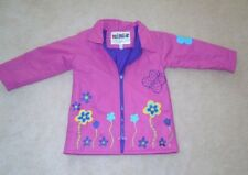 Toddler girls size 3T VINYL RAINCOAT pink & purple Flowers Driplet rain jacket