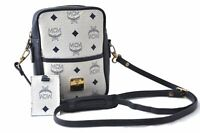 Authentic MCM Leather Vintage Shoulder Cross Body Bag White Navy B7660