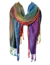 Paisley Pashmina Women Winter Fall Long Scarf Shawl Wrap Blue Rainbow Viscose
