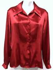 Fred David (Sz 6) Red Satin Sateen Fitted Long Sleeve Womens Button Top