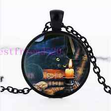 Wicca Black Cat And Book Cabochon Glass Black Chain Pendant Necklace