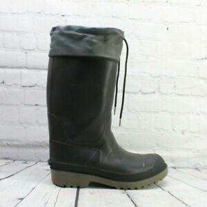 LL BEAN Men's Black Insulated Rubber Rain Boots Size 8