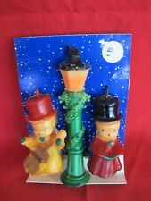 Vtg Christmas Candle Snowmen Carolers Lamp Boxed Set Gurley Kitschy Table Mantle