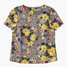 CATH KIDSTON TOP BLOUSE GREY YELLOW WINTER ROSE 1950s Style Bark Cloth  Sz 12