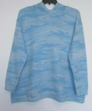 Style & Co Size 1X, 2X Blue camo print hoodie sweatshirt, long sleeve NWT