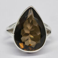 925 Sterling Silver Smoky Quartz Gemstone Ring Size 8 US 5.07 gm Ring Jewelry