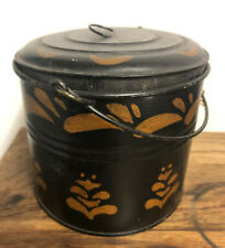 """4"""" PA Tin Paint Decorated Toleware Covered Bowl Lid Tole Canister Pail 19th c"""