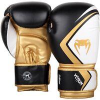 Venum Boxing Gloves Contender 2.0 Black White Gold Muay Thai Sparring Kickboxing
