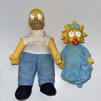 Simpsons Plush Dolls Hard Rubber Heads Maggie And Homer 1990 90s Vintage