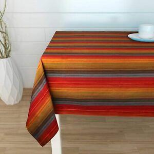 Urban Villa - Cuisine Stripes Red Multi Color Table Cloth - 100% Cotton - Size 5