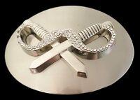 Belt Buckle Pirates Cross Swords Dagger Cool Rhinestones Boucle de Ceinture