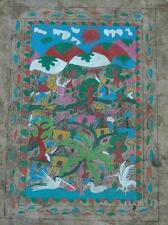 Vintage Watercolor & Gouache of Tropical Birds Mexican Folk Art Homemade Paper