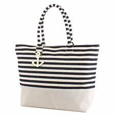 8a7630a853 ST22 Large Zipper Top Black Stripe Print Canvas Anchor Tote Bag Purse Beach  Tote