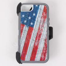 For iPhone SE USA Flag Camo Generic Defender Case with Clip&Screen Protector
