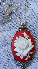 Rose Flower Cameo Mothers Day Antiqued Rose Setting Pendant Necklace Red White