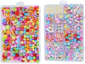 2x Girl Kids DIY Bracelet Craft Make Own Beads Jewellery Making Set Box Kit Gift