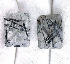 ONE 18x13 18mm x 13mm Emerald Black Tourmaline Tourmalated Quartz Gemstone Gem