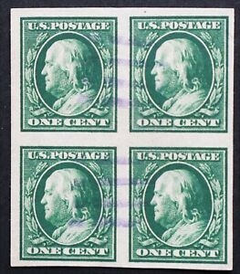U.S. Used #383 1c Franklin Imperf Block, XF. Magenta Cancel. Scott: $17.50
