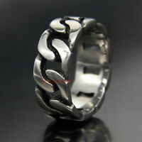 316L Stainless Steel Band Cuban Link Chain Ring Men Women 9mm Wide Silver Tone