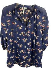LC Lauren Conrad V Neck Navy Floral Blouse Size Small Sheer