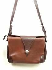 Borsa vintage cuoio pelle marrone messenger tracolla leather bag sac cuir a1