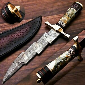 HANDMADE DAMASCUS STEEL HUNTING & ZIG ZAG KNIFE ACRYLIC SHEET & BRASS HANDLE