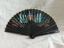 Vintage Antique Paper/ Plastic Hand Fan House Gold Edge Black