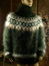 Mohair Handmade Hairy Icelandic Dark Green T- Neck Sweater Jumper ; size 2XL