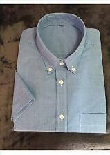 Ex Store Mens Polycotton  Blue shirt with small check, pocket, regular fit