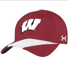 60ec90fcc09 Wisconsin Badgers Under Armour UA Stretchfit M L Hat On Field Red NWT