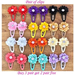 Girls kids hair clips sides snaps children baby flower stone clips hair pair