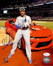 Salvador Perez Autographed 8x10 World Series MVP Trophy Photo JSA Auto