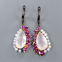 Rose Quartz Earrings Silver 925 Sterling Jewelry SET Gemstone  /E42084